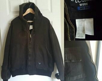 Black sun bleached canvas hooded work jacket size XL