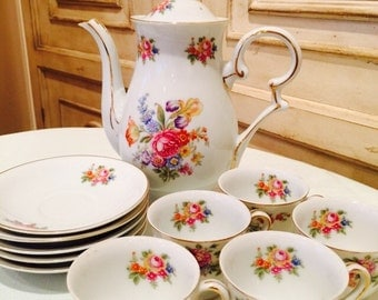 Albion China tea set-floral tea set-wildflowers and roses tea set- teapot, cups and saucers
