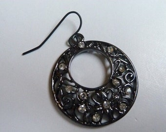 Antique Black Hoop Earrings with Clear Crystal Beads