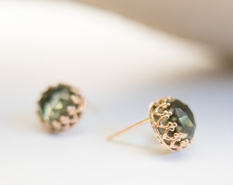 Amethyst Earrings Fine Jewelry Semi Precious Stones Green Stone Earrings Gift for Her Mother Bride Girlfriend Solid Gold 14k Post Studs