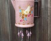 Bye Bye Birdie--Vintage Folk Art Painted Coffee Pot Wind Chime