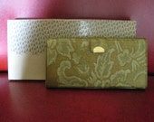 Vintage NOS Green Womens Wallet - Retro 60's with Coin Purse, Photo Holder, Notepad and Pen