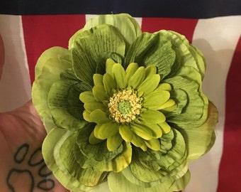 Green hair flower clip daisy sage moss green