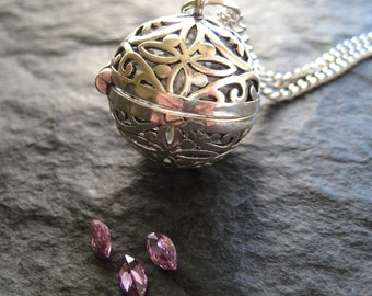 SALE - Large Round Sterling Silver Floral Wish Ball Locket on Long Chain