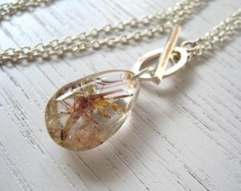 SALE - Teardrop Shaped Rutilated Quartz Pendant Necklace