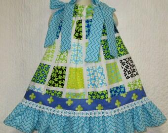 Girls Dress 2T/3T Green Blue Flower Garden Square Boutique Pillowcase Dress, Pillow Case Dress, Sundress