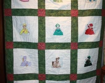 Sunbonnet Sue Machine Embroidered Lap Quilt