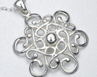 Made In Alaska Argentium Sterling Silver Filigree Snowflake Pendant Necklace