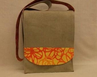 Natural Linen with Orange Messenger Bag