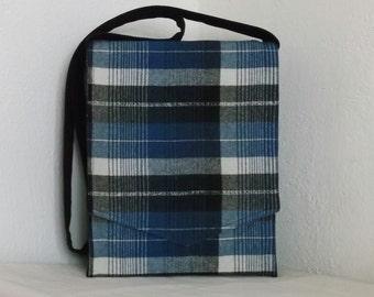 Blue & Black Plaid Wool Messenger Bag
