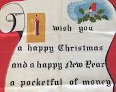 Vintage Tea Towel Christmas Carol Lamont Winter Scene Bird