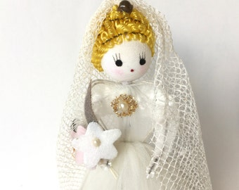 Vintage Bride Figurine Doll Tulle Wedding Dress Spun Cotton Chenille Trim