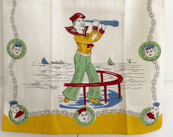 Vintage Tea Towel Sailor Nautical Theme Sailboat Telescope Portholes