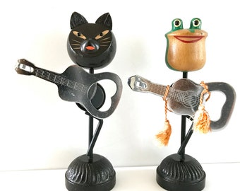 TWO Vintage Bottle Openers Black Cat Green Frog Guitars Novelty Barware Ideal Japan