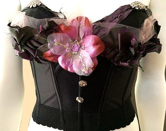 Black Vintage Goth Embellished Bustier, pink tulle, antique burgundy silk, vintage rhinestone clips, Victorianna