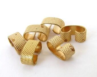 Vintage Brass Bracelet Link Foldover Connector Dotted Textured Finding 11mm vfd0273 (6)