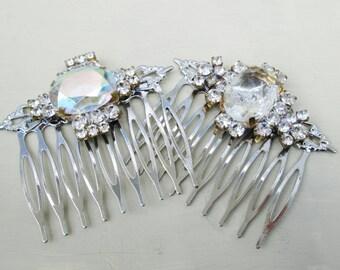 Silver Crystal Vintage Hair Comb Set