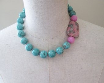 Turquoise  Sage Pink Beaded Chunky Necklace, Zoisite Green Beads