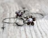 Flower Earrings Floral Jewelry Gunmetal Wire Earring