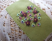 Hand Embroidered Pale Green Felt Glasses Case