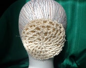 Hair Bun Cover Natural Color Crocheted Hair Net in Vintage Pattern