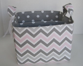 Ex-Large Pink/Gray/White Chevron Fabric Organizer Basket with  Divider