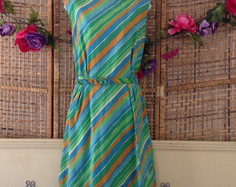 Vintage 60's Belted Shift Day Dress Bright Tropical Stripes Larger Size Martin Berens Tall Fashions