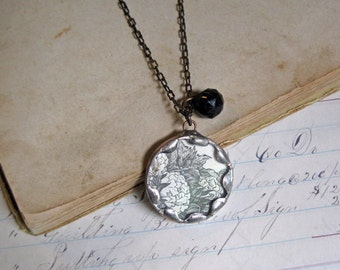 Sepia Flower Pendant with Victorian Black Glass Button Soldered Jewelry