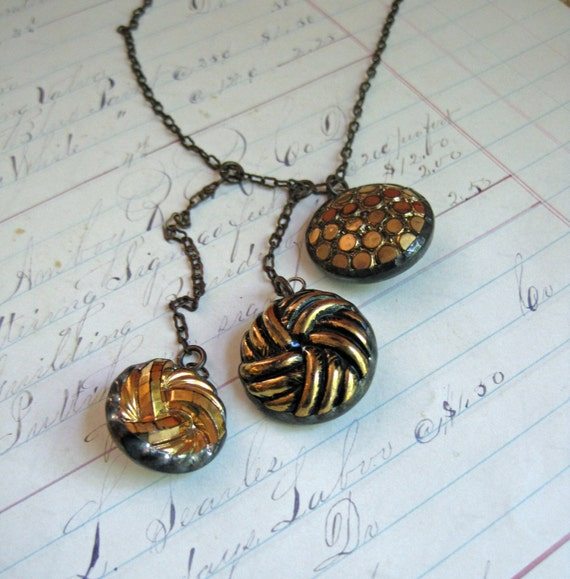 Vintage Black Glass Button with Gold Cascading Necklace One of a Kind Jewelry