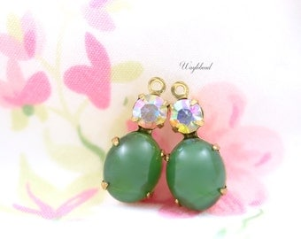 Vintage Oval Glass Dangles Set Stones 1 Ring 18x8mm Brass Prong Settings Olive Green & AB Crystal - 2