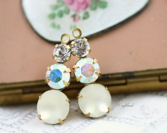 Vintage Glass Dangles Round Set Stones 1 Ring 23mm Earring Component Brass Prong Settings Crystal AB Crystal & Frosted White - 2