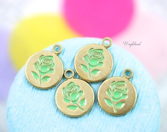 Vintage Style Rose Disc Charms Pendants Apple Green - 4