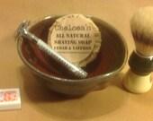 Salt fired copper red glazed Stoneware mens shaving bowl Life is Better