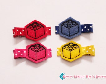 Felt Hair Bow Clips-Blocks-Red, Blue, Yellow, and Pink