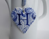 Sale - Initial - H - Monogram - Hand painted porcelain  Heart -  Blue and white Delftware ornament