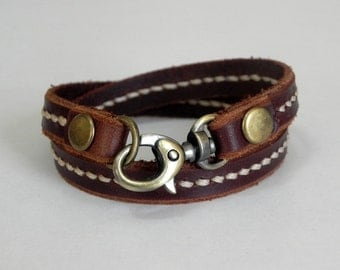 Double Round Brown Leather Bracelet Wrap Leather Bracelet with Metal Alloy Brass Tone Clasp Hand Stitched