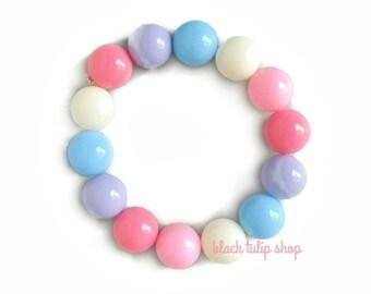 Fairy Kei Bracelet Kawaii Bracelet Pastel Jewelry Retro Stretch Bracelet Chunky Bracelet for Teens Women Sweet Lolita Jewelry
