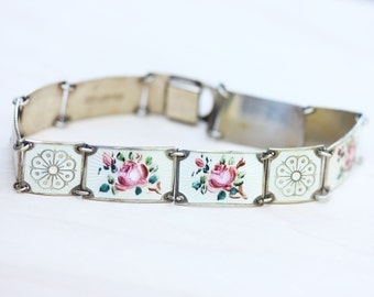 Sterling Silver Pink and White Enamel David Andersen Flower Bracelet