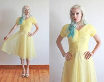 """SALE! 1950s dress / 50s lemon yellow chiffon party dress / 1950s yellow dress / size xs - s bust 32-34"""" waist 26"""""""