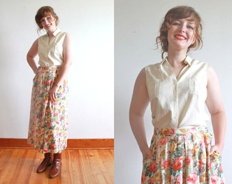 floral midi skirt / 1990s rayon floral skirt / handmade cottage roses skirt / size l - xl waist 34""