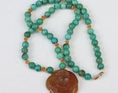 Turquoise Bead Gemstone Floral Pendant 14K Clasp Artisan