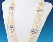 Five Strand Carved Bone Bead Necklace Quartz Beads Vintage