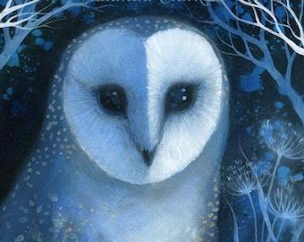 SALE!! A Limited edition giclee art print by Amanda Clark. 'Deep in the Night'.  Owl art, moonlight, Wildlife art