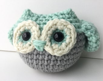 Crochet Plush Mint Green Owl Toy Gift For Kids Amigurumi Crochet Stuffed Animal Gift For Teens Plushie Owl Gift Under 25 Woodland Owl Toy