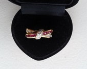 Ring - 9 ct Gold, Diamond and Ruby Ring, Crossover Style