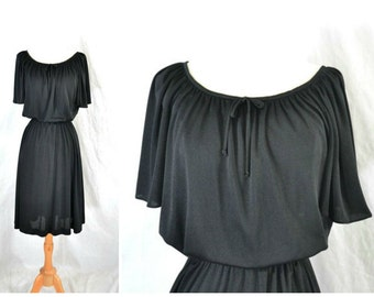 70s Grecian Drape Black Dress - Jersey Knit - Extra Small to Small