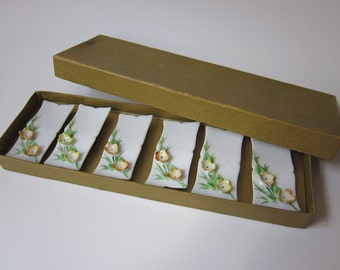 Vintage Japan Porcelain Yellow and Orange Floral Dry Erase Name Place Cards - Set of 6