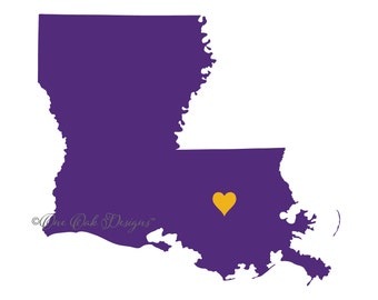Louisiana Heart SVG File PDF / dxf / jpg / png / eps / ai / for Cameo, Cricut Explore & other electronic cutters