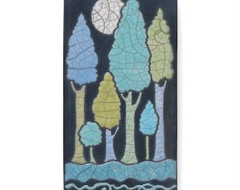 Full moon and the trees,handmade ceramic tile,a 3x6 raku fired art tile, wall art, clay