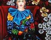 Mexican Fine Art Print Portrait of Frida in a Floral Dress from Original  Frida Kahlo Painting by k Madison Moore
